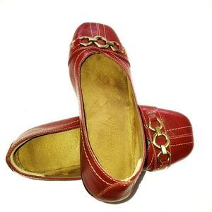 Aerosoles Shoes Red with Gold Buckle Size 6